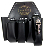 Bashlin 111HLDSX Lineman Holster Black Leather 5 Pocket with Snap
