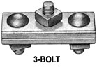"MSI H-J929 3 Bolt Marriage Guy Clamp 4""with 1/2"" Bolts, 3/16"" - 7/16"" Strand Range"
