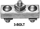 "H-J931 3 Bolt Marriage Guy Clamp 6"" with 5/8"" Bolts, 5/16"" - 1/2"" Strand Range"