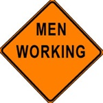 "Men Working Construction Sign- 48"" x 48"" Non-Reflective"