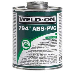 PVC Cement 1 Quart GREEN WELDON 794 10273 ABS TO PVC